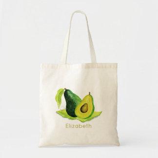 Grüne Avocado-Stillleben-Frucht in den Aquarellen Budget Stoffbeutel