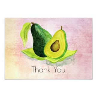 Grüne Avocatofrucht in den Aquarellen danken Ihnen Karte