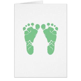Grüne Babyabdrücke Grußkarte