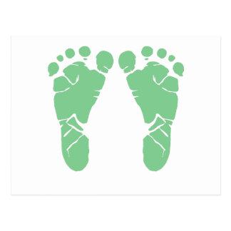 Grüne Babyabdrücke Postkarte