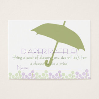Grüne Babyparty-Regenschirm-Windelraffle-Karten Visitenkarte