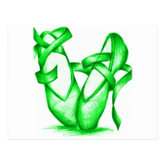 Grüne Ballett-Pantoffel Postkarte