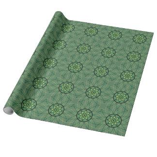 Grüne beige schwarze geometrische Blume Geschenkpapier