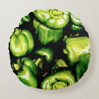 Grüne Bell-Paprikaschoten Rundes Kissen