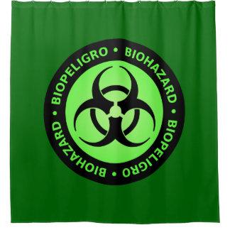 Grüne Biogefährdung-Warnzeichen Duschvorhang