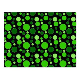 Grüne Blasen auf Schwarzem Postkarten