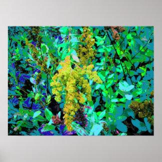 Grüne Blumen am Rand der Wiese Poster