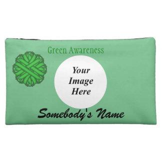 Grüne Blumen-Band-Schablone Cosmetic Bag