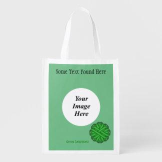 Grüne Blumen-Band-Schablone Wiederverwendbare Einkaufstasche
