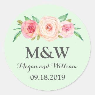 Grüne Blumenmonogramm-Hochzeit Runder Aufkleber
