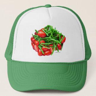 Grüne Bohne und Tomaten Truckerkappe