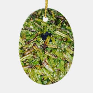 Grüne Bohnen… Ovales Keramik Ornament