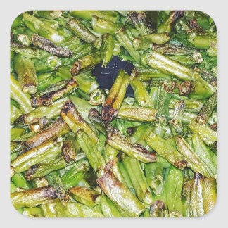 Grüne Bohnen… Quadratischer Aufkleber