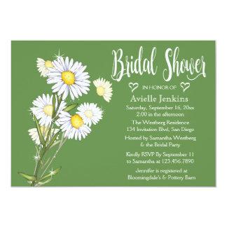 Grüne Brautparty-weißes Gänseblümchen-mit Karte