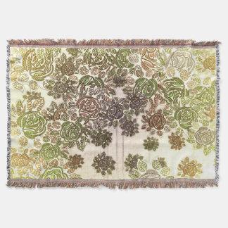 Grüne Brown-Blumen-Decke Decke