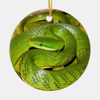 Grüne Bush-Ratten-Schlange Rundes Keramik Ornament