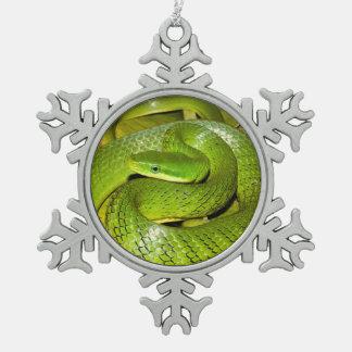 Grüne Bush-Ratten-Schlange Schneeflocken Zinn-Ornament