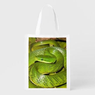 Grüne Bush-Ratten-Schlange Wiederverwendbare Einkaufstasche