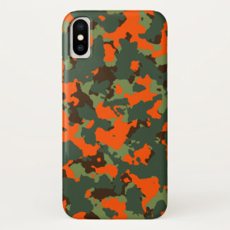 Grüne Camouflage mit Sicherheits-Flammen-Orange iPhone X Hülle