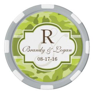 Grüne Camouflage, Tarnungs-Hochzeit Poker Chip Set