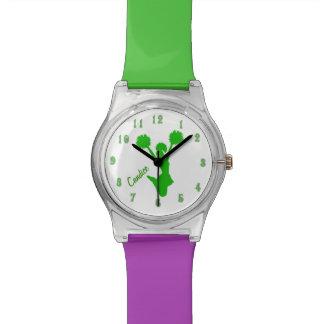 Grüne Cheerleader-kundenspezifische Uhr
