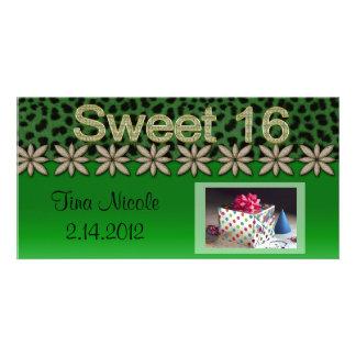 Grüne Cheetah-u. Glitter-Blumen Photokartenvorlage