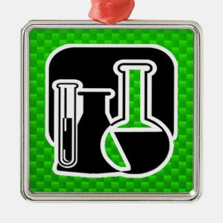 Grüne Chemie Quadratisches Silberfarbenes Ornament