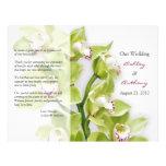 Grüne Cymbidium-Orchideen-Blumenhochzeits-Programm Vollfarbige Flyer