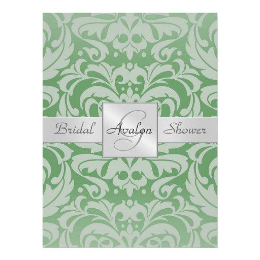 Grüne Damast-Brautparty-Monogramm-Einladung