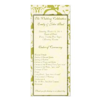 Grüne Damast-Hochzeits-Einladungen Karte