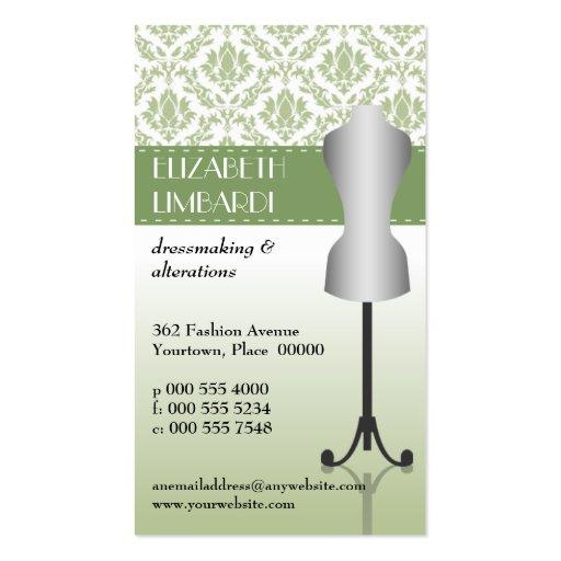 Grüne Damast-Mode-Kleiderform Visitenkarte