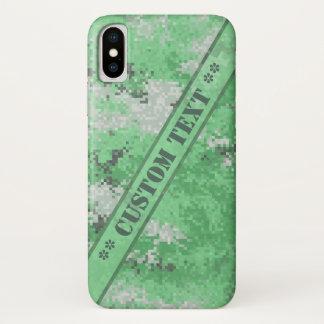 Grüne Digi Camouflage mit kundenspezifischem Text iPhone X Hülle