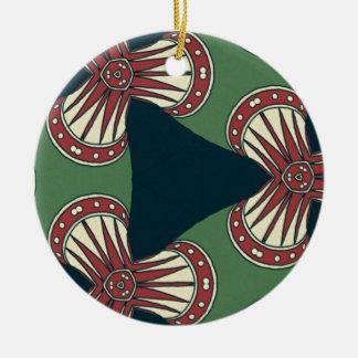 Grüne Dreiecke Keramik Ornament