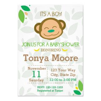 Grüne Dschungel-Affe-Babyparty-Einladung 12,7 X 17,8 Cm Einladungskarte