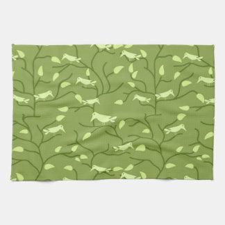 Grüne Dschungel-Vögel Geschirrtuch