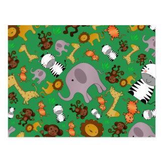 Grüne Dschungelsafaritiere Postkarten