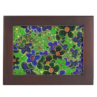 grüne dunkle Waldkastanienbraun-Blau-Blumen Erinnerungsdose