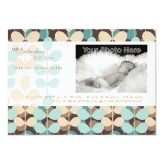 Grüne Efeu-Baby-Geburtsmitteilung 12,7 X 17,8 Cm Einladungskarte