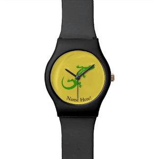 Grüne Eidechse Armbanduhr