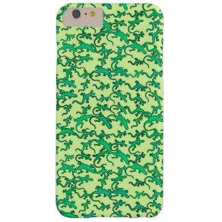 Grüne Eidechsen auf einem Limonen grünen Barely There iPhone 6 Plus Hülle