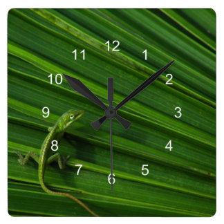 Grüne Eidechsen-Uhr Wanduhr