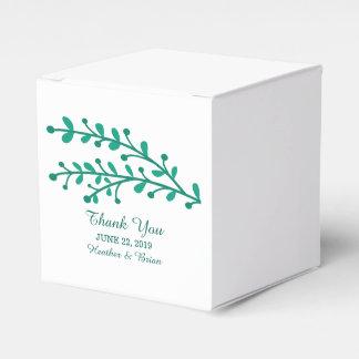 Grüne einfache Laub-Hochzeit Geschenkschachtel
