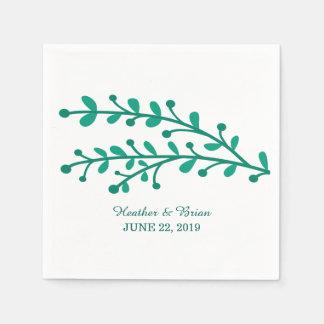 Grüne einfache Laub-Hochzeit Papierserviette