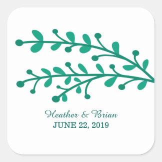 Grüne einfache Laub-Hochzeit Quadratischer Aufkleber