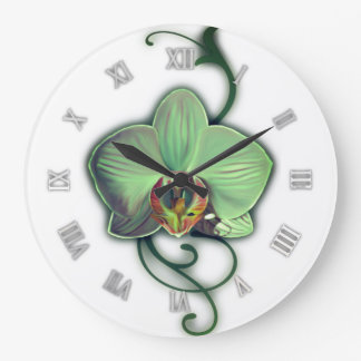 Grüne Entwurfsorchideen-Wanduhr Große Wanduhr