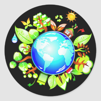 Grüne Erde ökologisch für Erdtag Runder Aufkleber