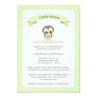 Grüne Eule holen eine Buch-Babyparty-Einladung 12,7 X 17,8 Cm Einladungskarte