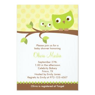 Grüne Eulen-Babyparty-Einladungen 12,7 X 17,8 Cm Einladungskarte