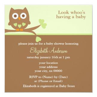 Grüne Eulen-Babyparty Quadratische 13,3 Cm Einladungskarte
