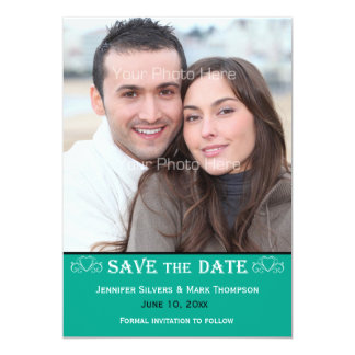 Grüne Farbsmaragdband, Foto Save the Date 12,7 X 17,8 Cm Einladungskarte